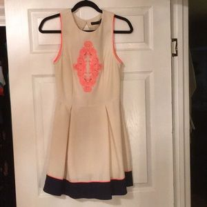 NWT Cream, Nagy & hot pink dress